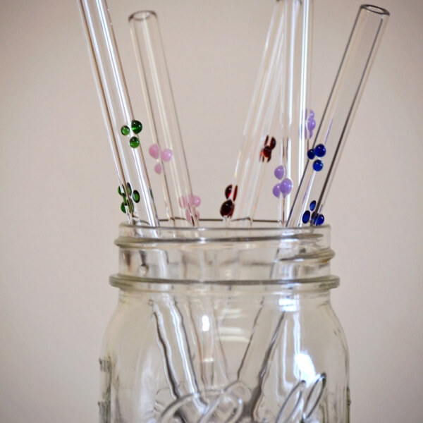 Dots Custom Accent glass straws with cleaning brush
