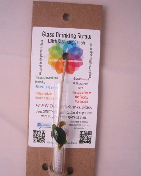 sea turtle glass straw