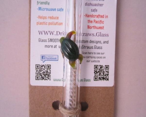 handmade sea turtle glass straw