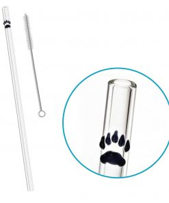 reusable glass straw paw print accent