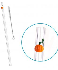 reusable glass straw pumpkin accent