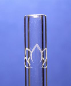 lotus flower etched glass drinking straw